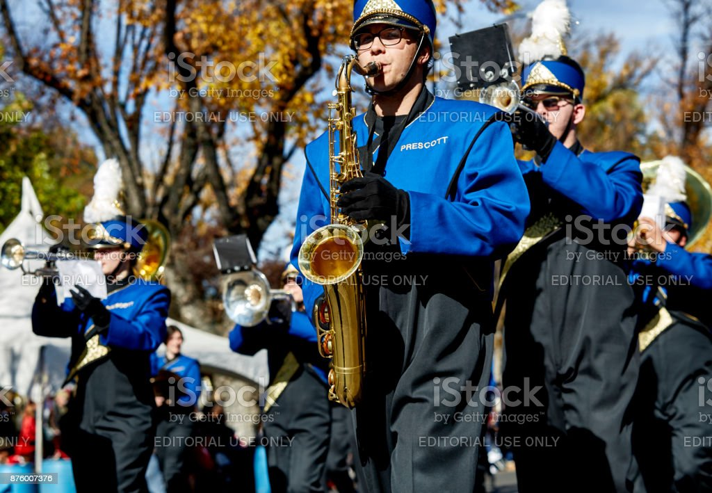 Prescott High School Band in Veterans Day Parade stock photo