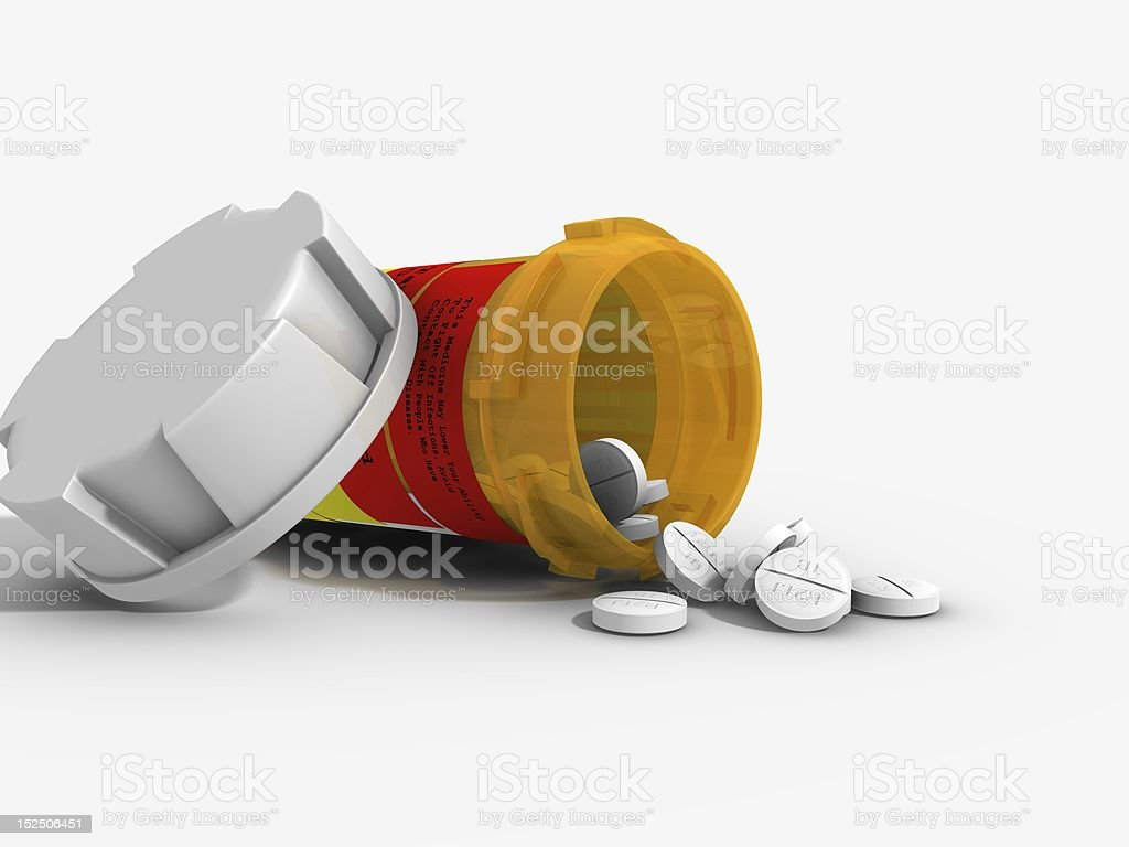 Prescription Drugs Realistic computer generated image of a prescription drugs spilling out of the bottle. Bottle Stock Photo