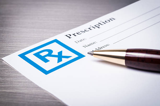 prescription form close-up - prescription medicine stock pictures, royalty-free photos & images