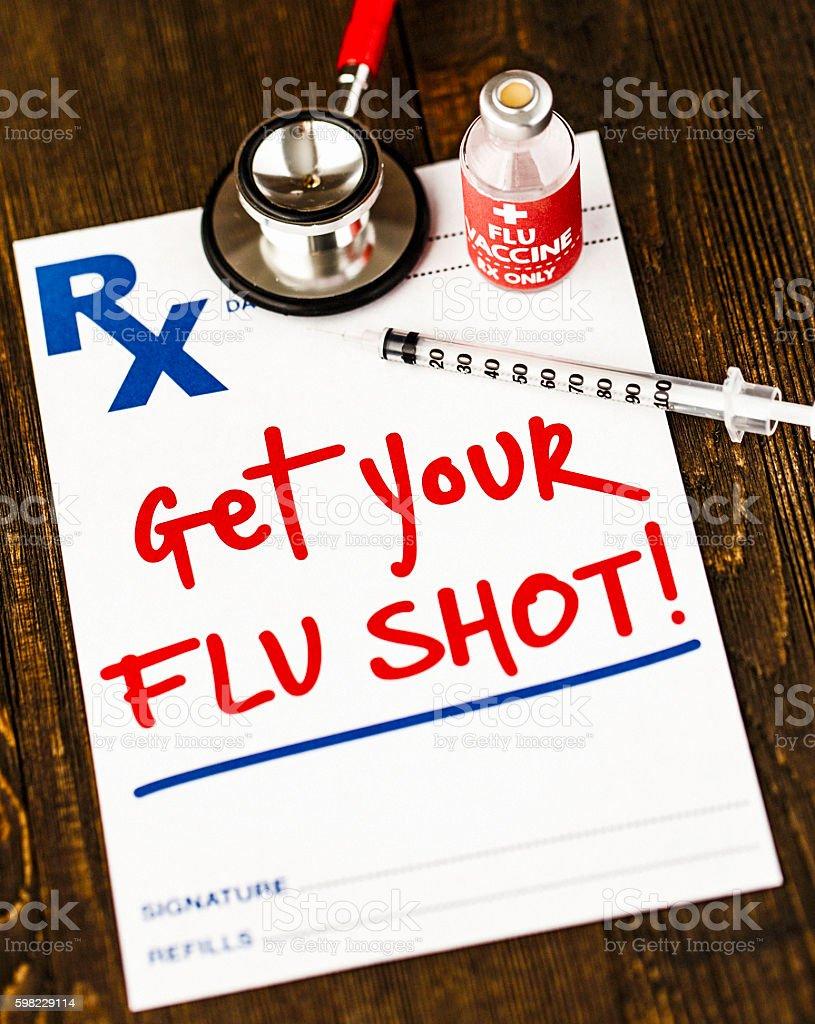 Prescription form with reminder to get a flu shot foto royalty-free