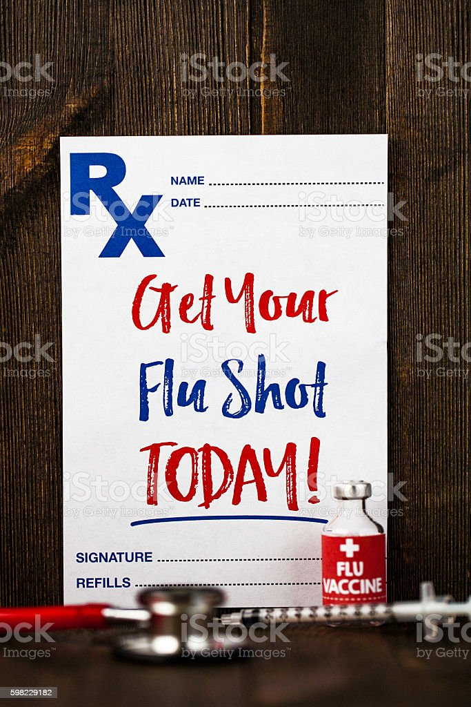 Prescription form with reminder to get a flu shot foto royalty-free