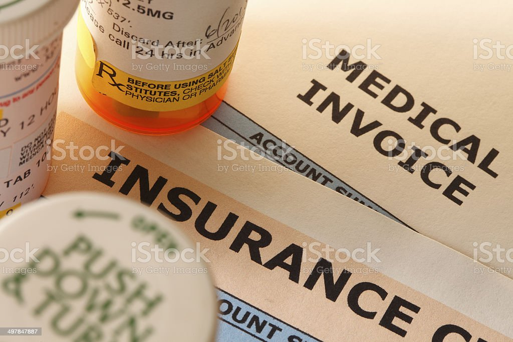 Prescription Medication and Insurance stock photo