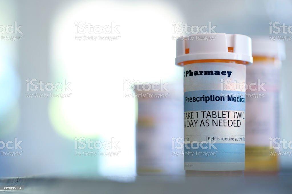 Prescription Medication Bottle On Countertop stock photo