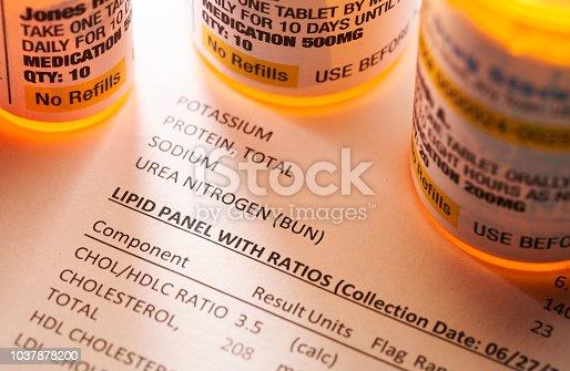 Prescription medicine on blood test report