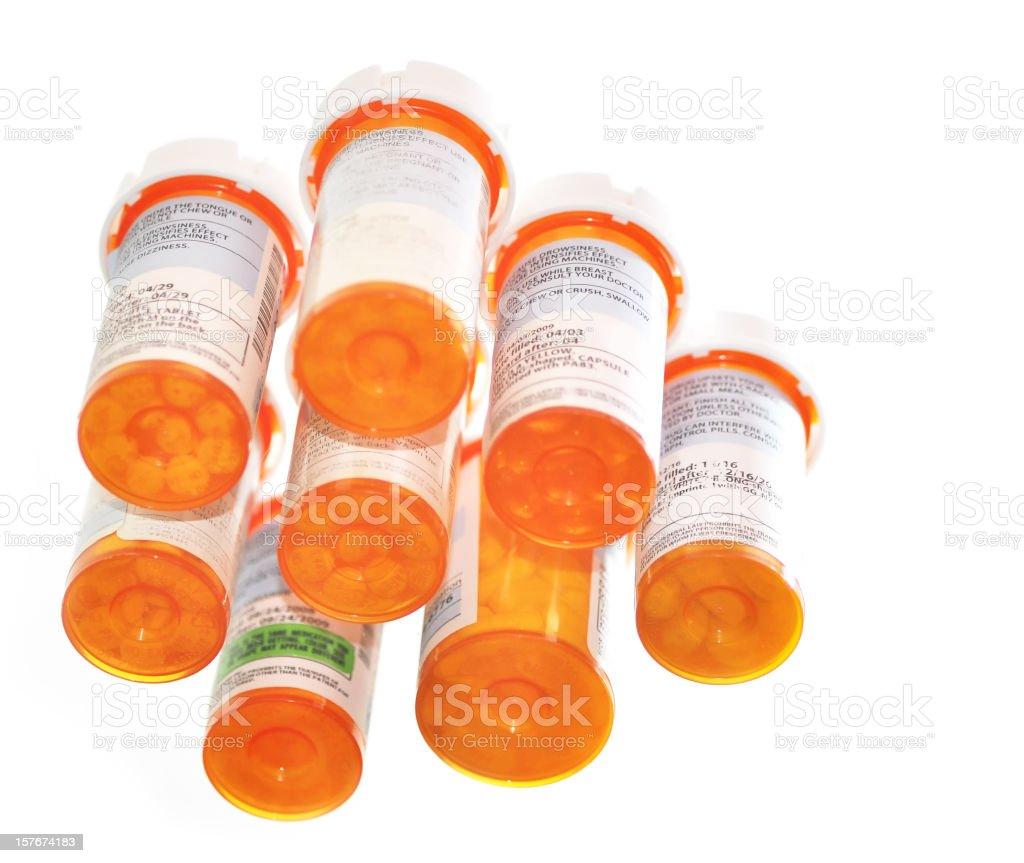 Prescription medicine bottles shot from below royalty-free stock photo