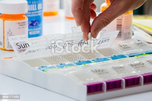 details of a hand carefully organizing prescriptions pills for a weekly dose
