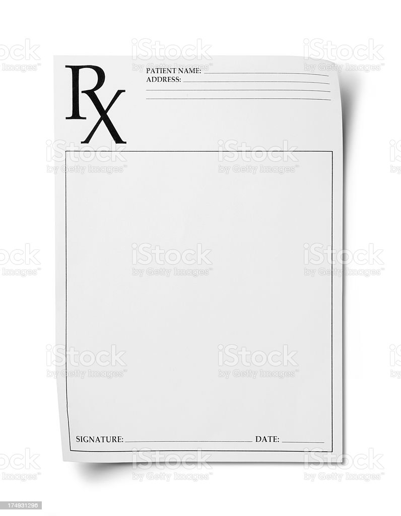 RX Prescription pad isolated on a white background stock photo