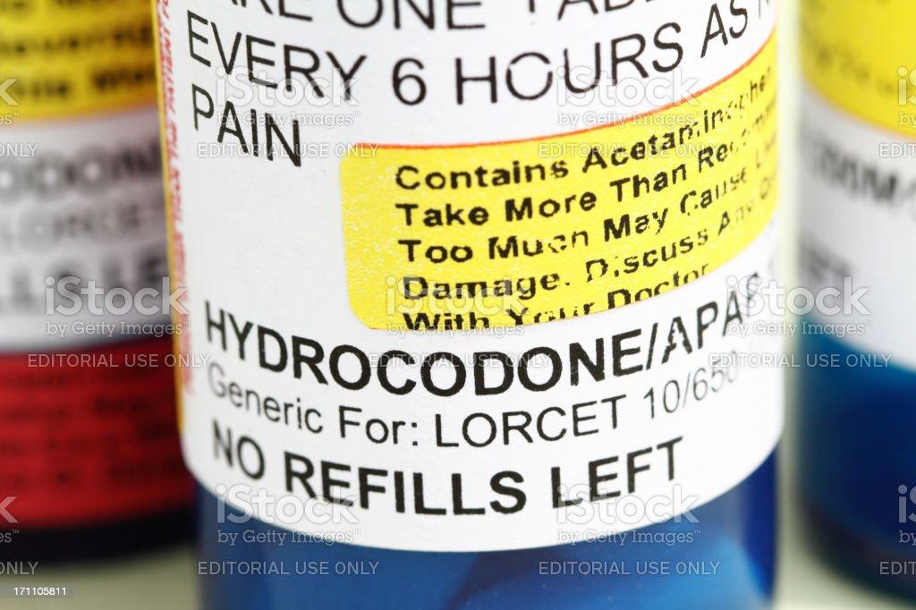 Prescription pain relief medicine hydrocodone. stock photo