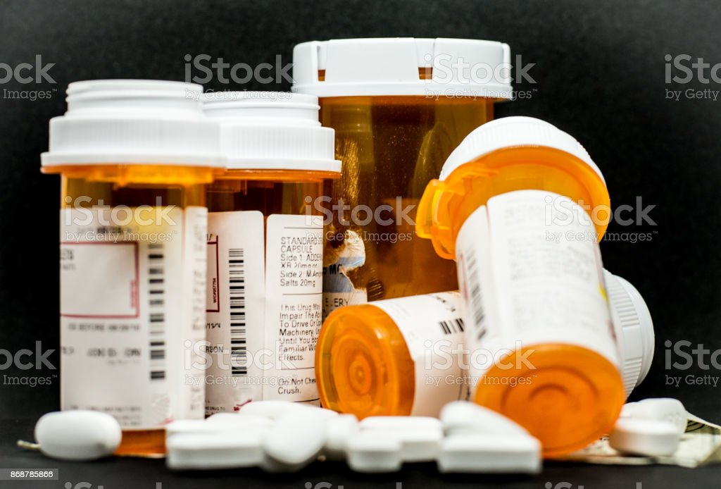 Prescription Pills and Containers stock photo