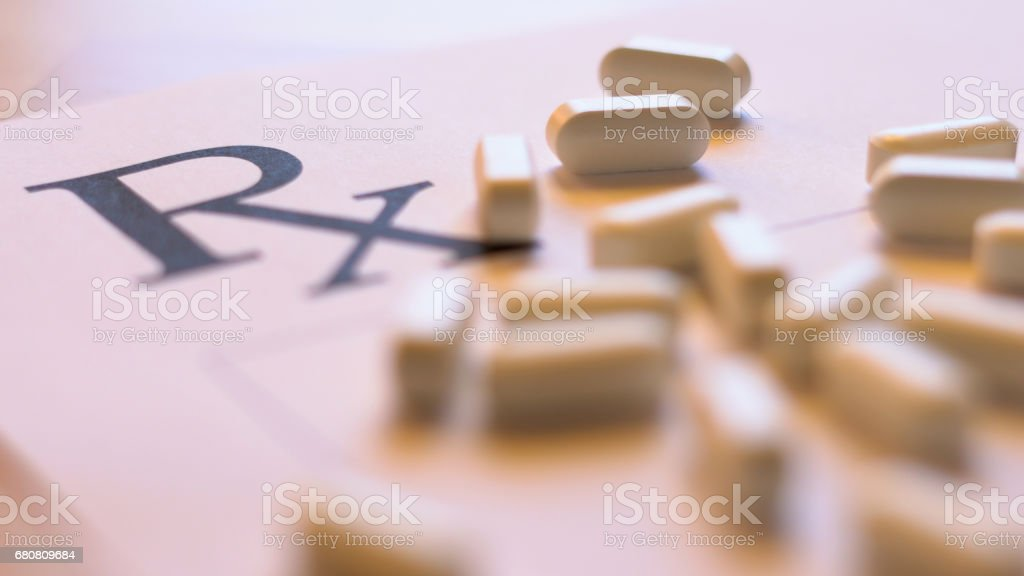 Prescription pills concept with blank RX form stock photo