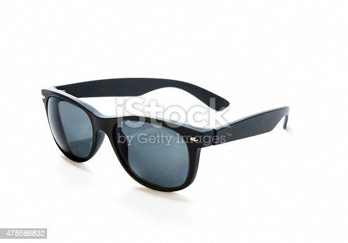 Prescription sunglasses with black,rubber frames and blue, polarized lenses.