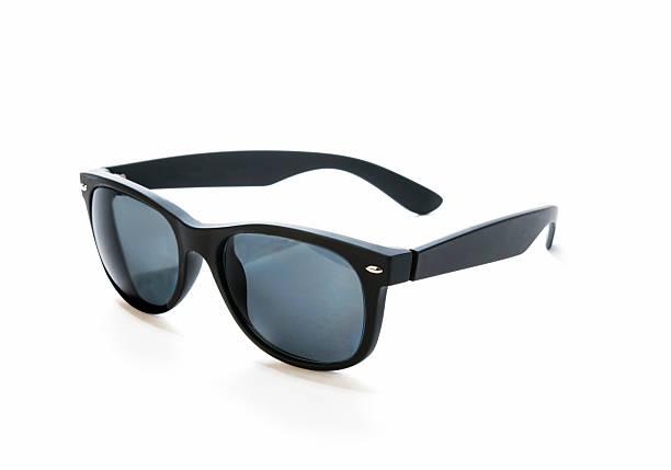 Prescription sunglasses with black, rubber frames stock photo