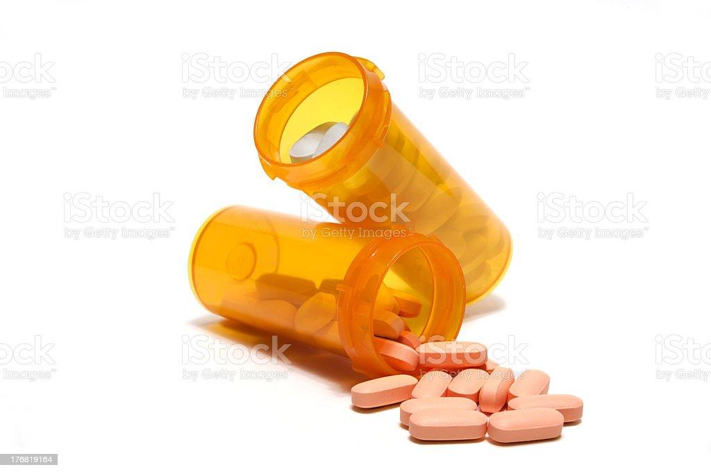 Prescriptions spilling stock photo