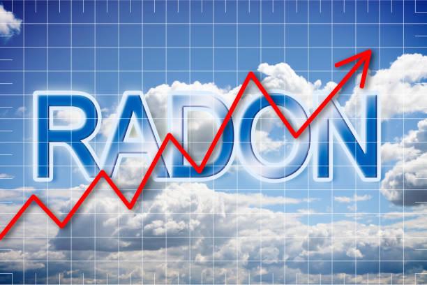 presence of radon gas in the air - concept image - radon test stockfoto's en -beelden