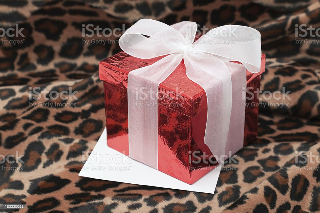 Present & Card with Leopard Background stock photo