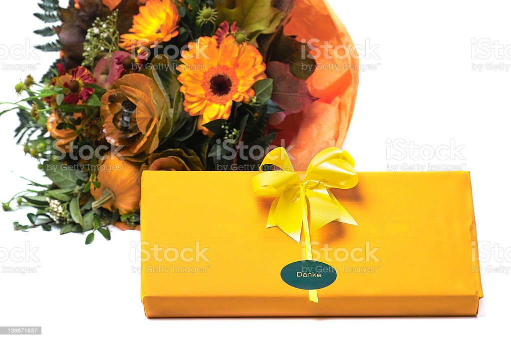 Present and flowers royalty-free stock photo