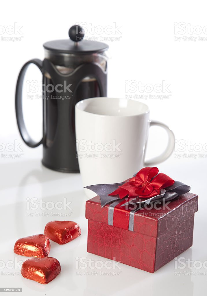Present and some coffee royalty-free stock photo