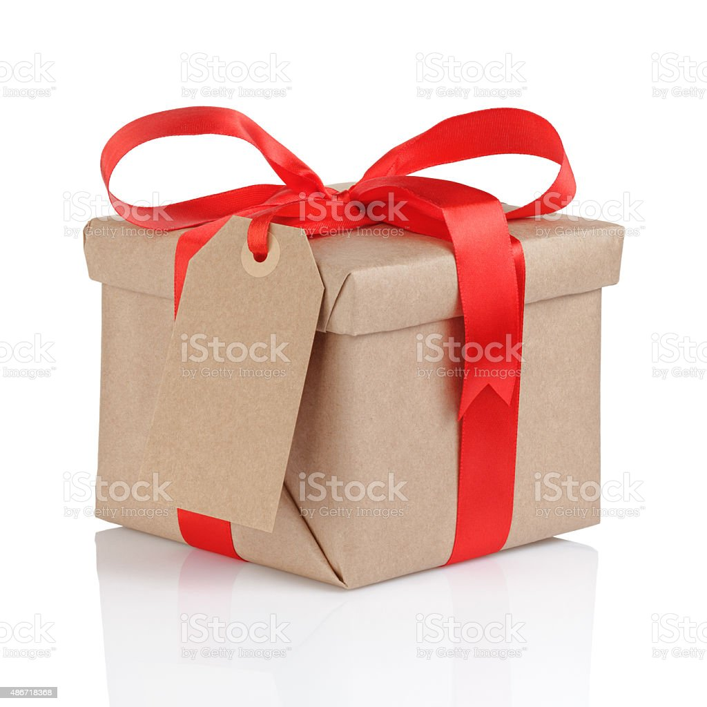 present box from brown papaer with red ribbon bow stock photo