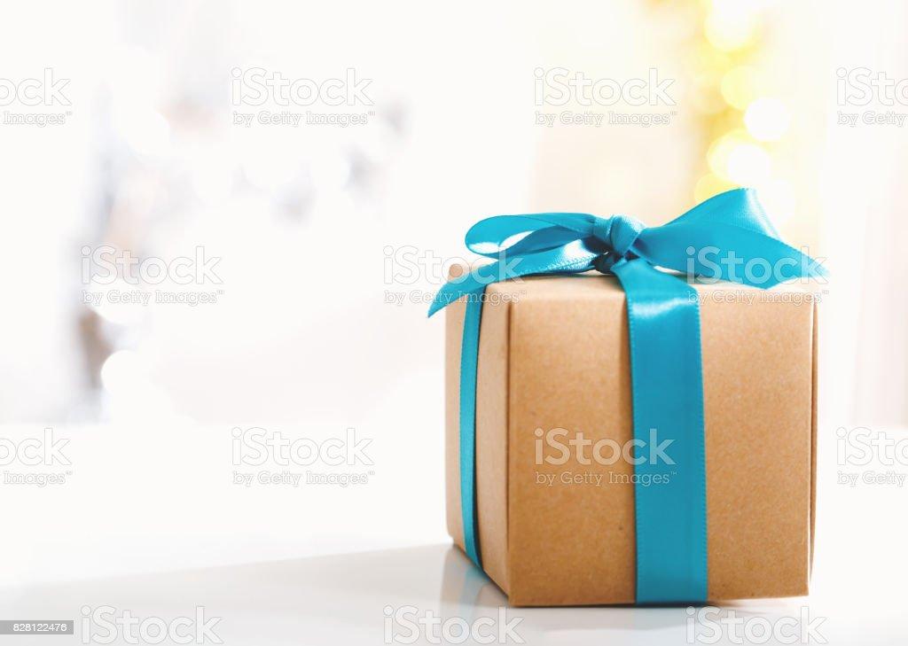 Present box in a bright room stock photo