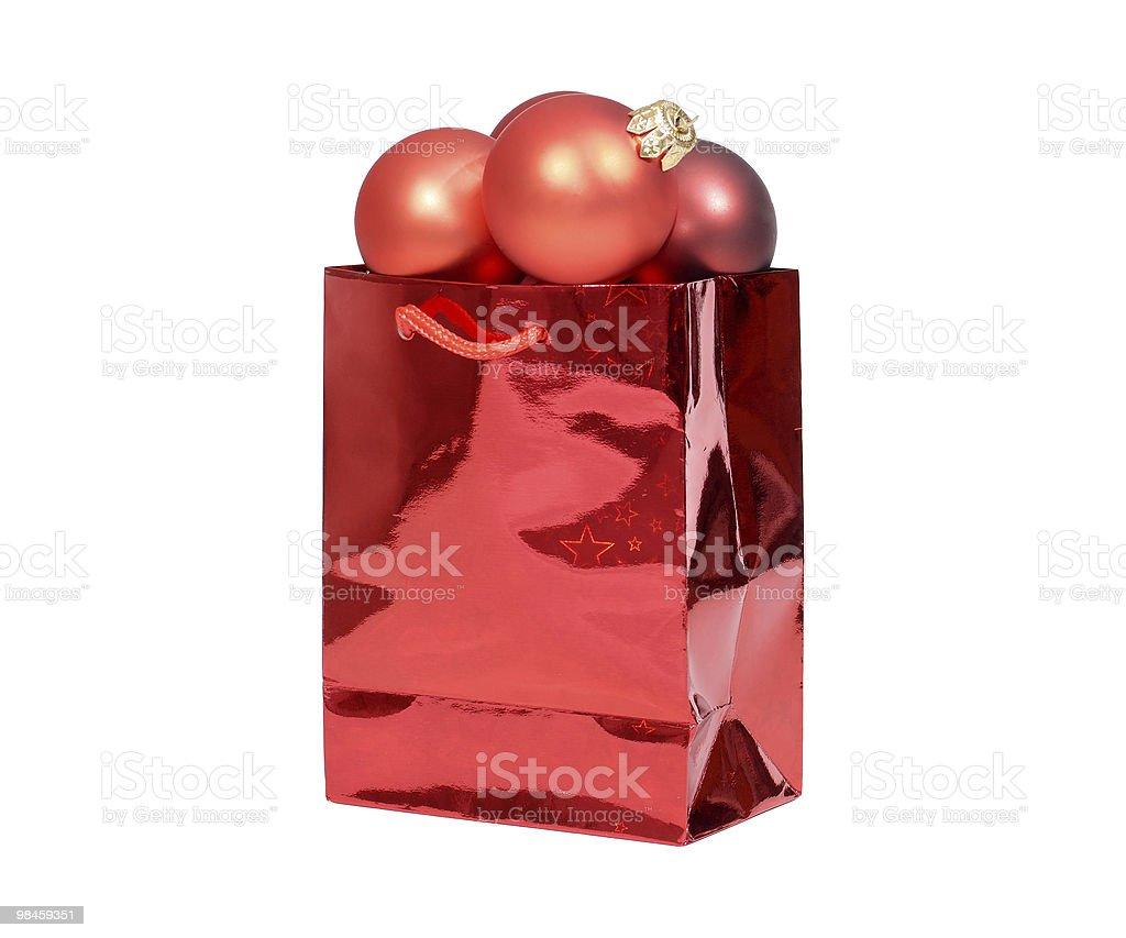 Present - Christmas bag with balls royalty-free stock photo