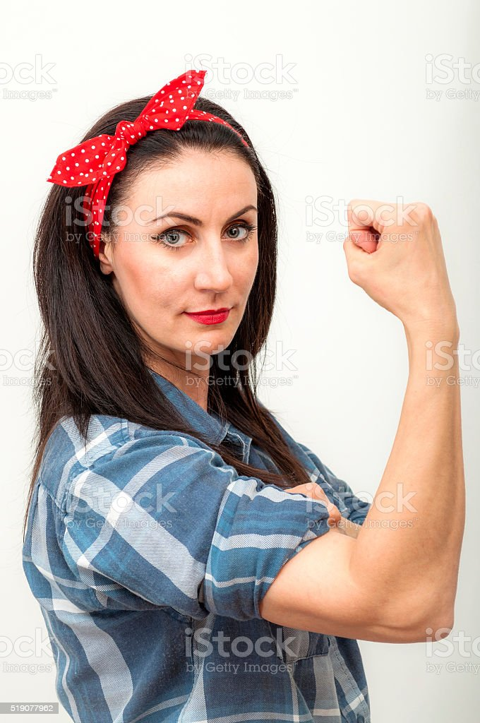 Present day Rosie the Riveter stock photo
