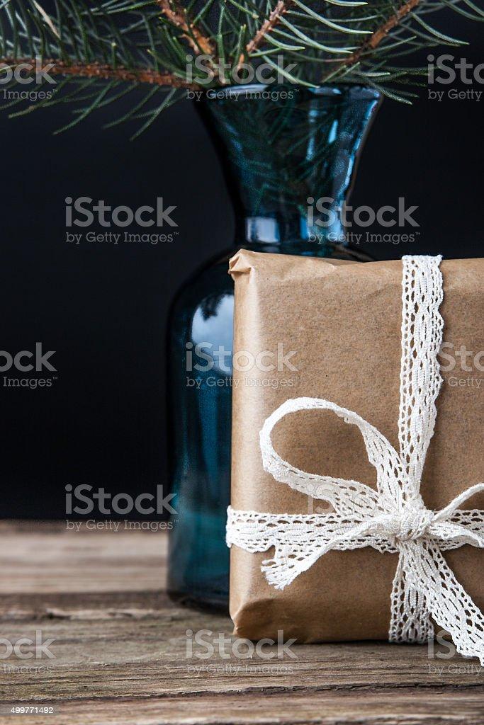Gegenwart Tannenarten-brunch in der vase Lizenzfreies stock-foto