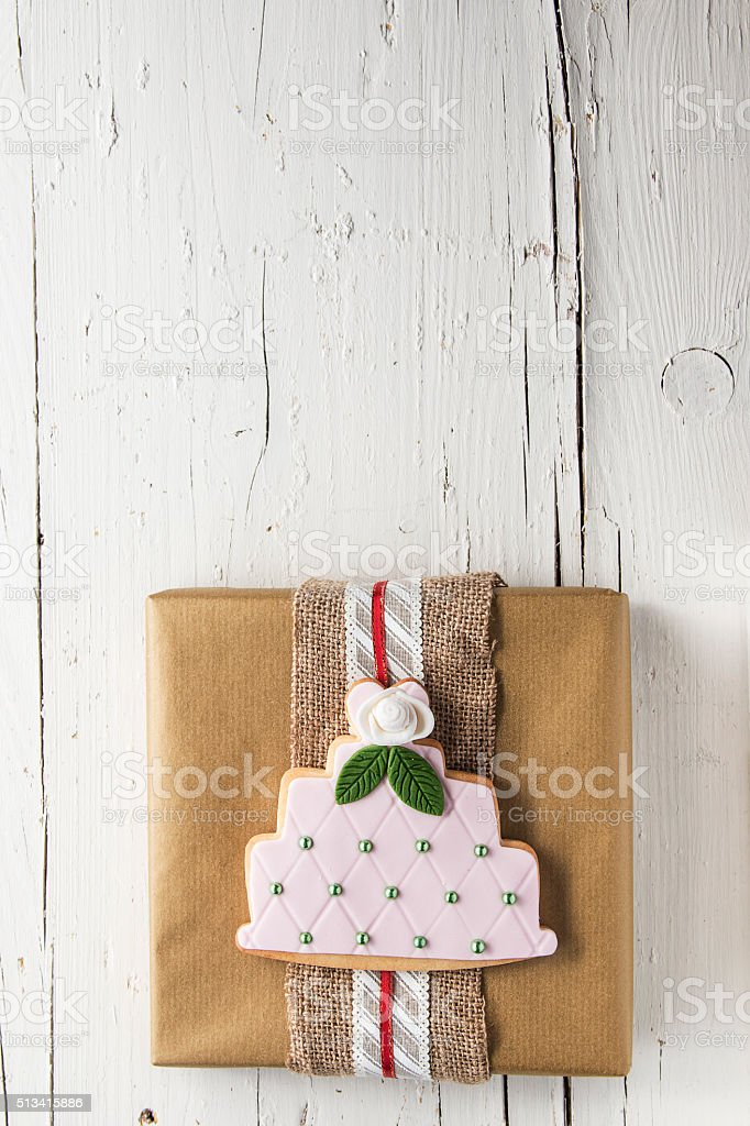 Present gift on white background stock photo