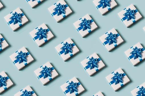 Present on blue background