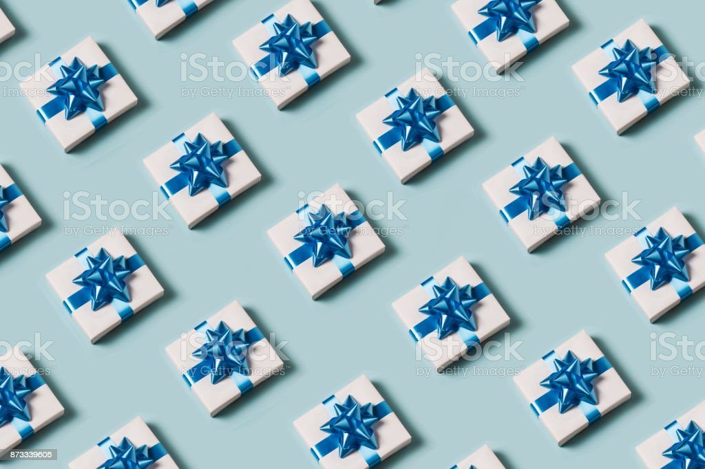 Present on blue background stock photo
