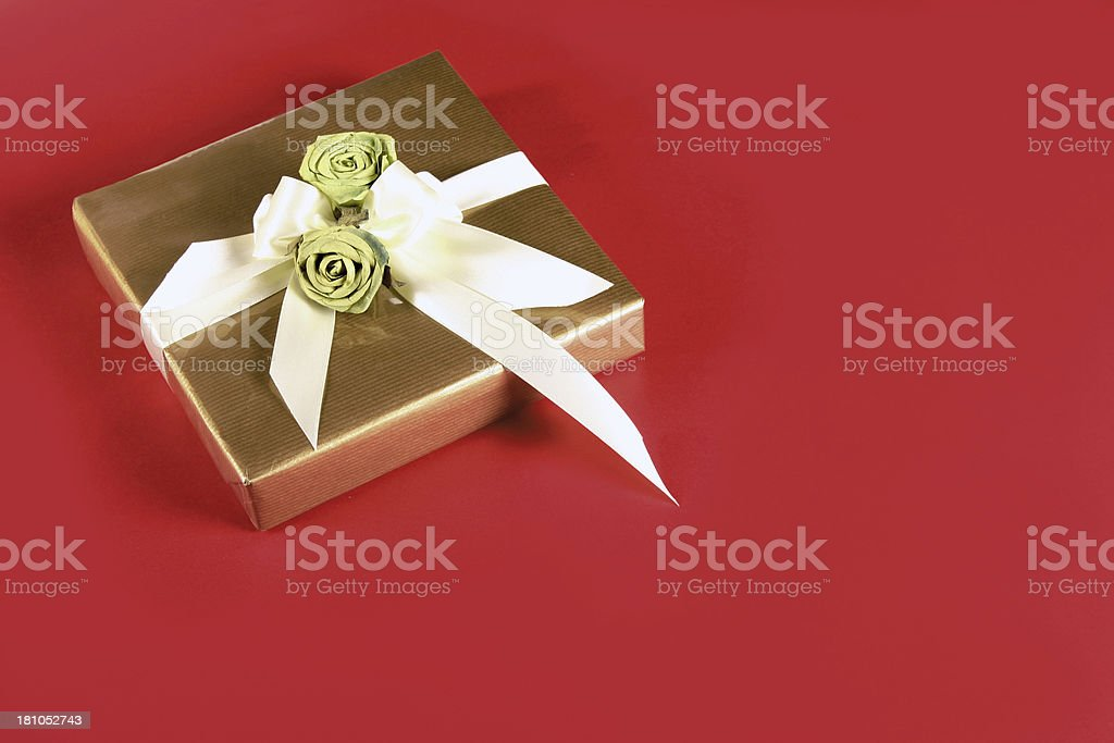 Present on red background stock photo