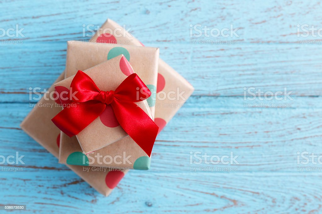 Present on wood background stock photo