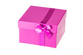 Present or gift box with pink ribbon bow isolated on a white background. Birthday, valentine or other holidays.