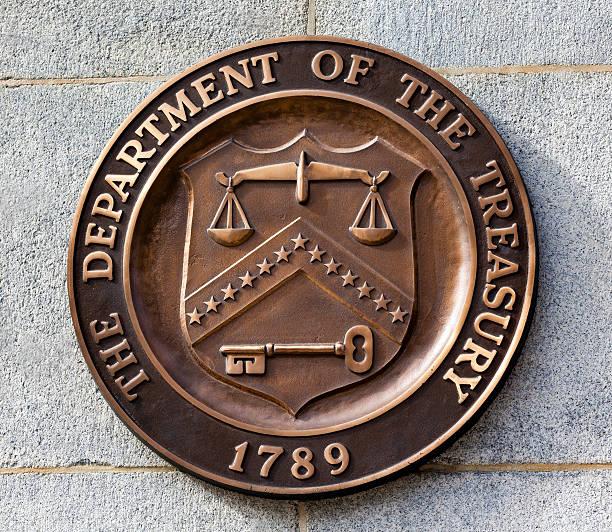 Presente junta señal símbolo el Departamento de Tesorería de Washington DC - foto de stock