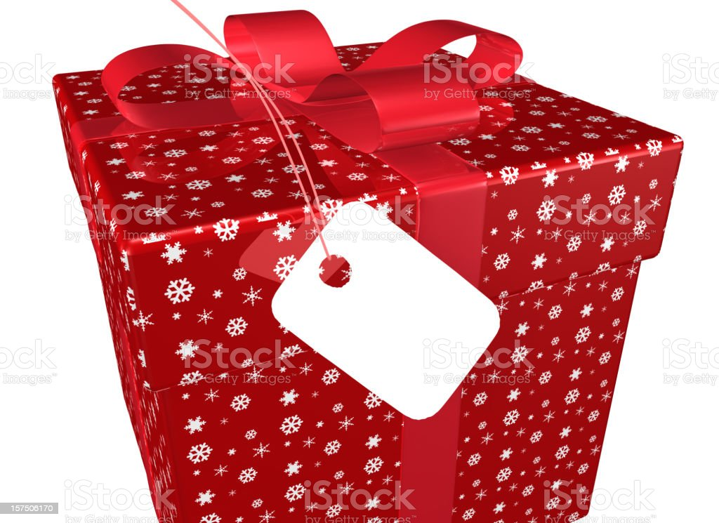 Present with red Bow and Tag royalty-free stock photo