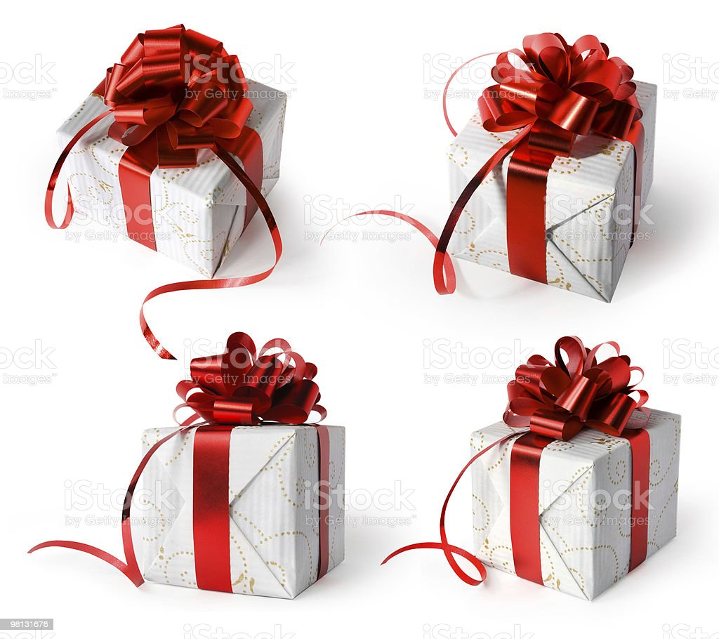 Present with red bow. royalty-free stock photo