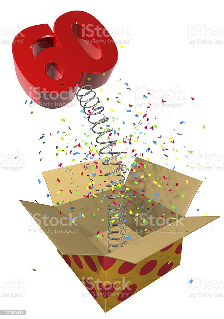 present with spring 60 birthday royalty-free stock photo