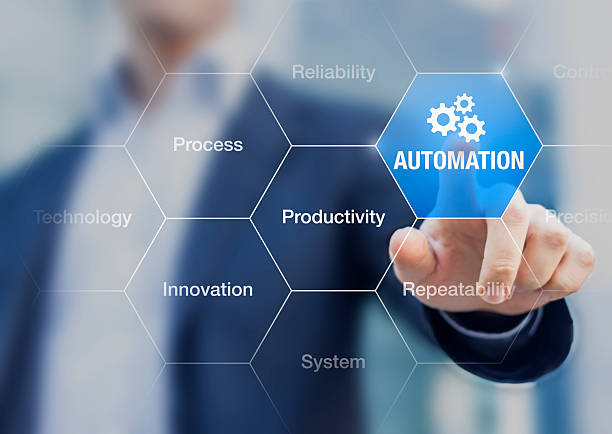 presentation about automation to improve reliability and productivity - business icons stock photos and pictures