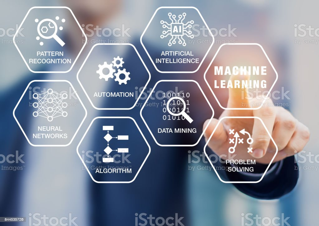 Presentation about machine learning technology, scientist touching screen, artificial intelligence stock photo