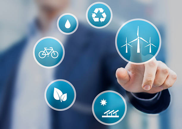 presentation about renewable energy for a sustainable development - transportation icons stock photos and pictures