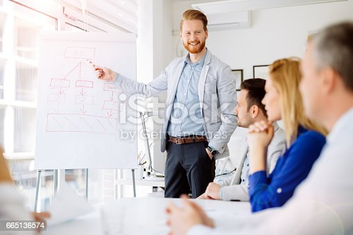 istock Presentation and collaboration by business people in office 665136574