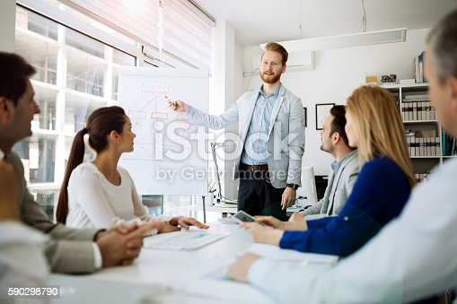 istock Presentation and collaboration by business people 590298790