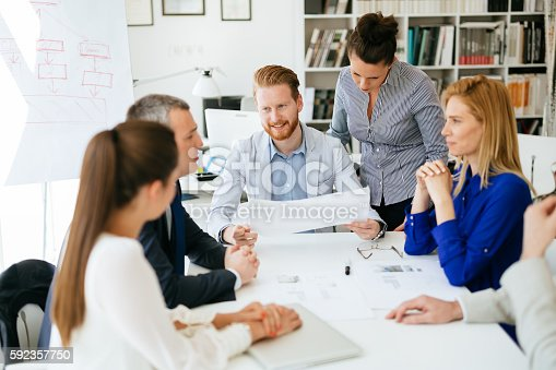 istock Presentation and collaboration by business people 592357750