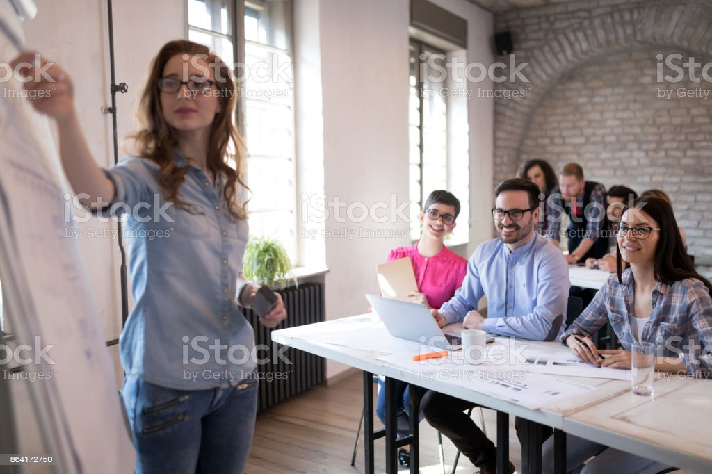 Presentation and creative briefing held in office royalty-free stock photo