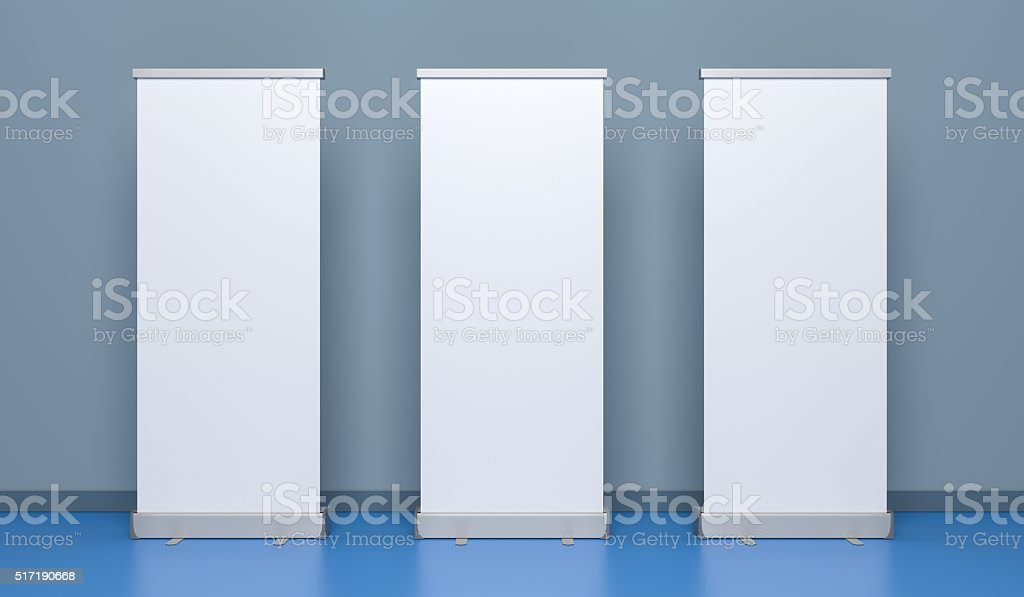 Presentation banners or rollup. 3D Illustration. stock photo