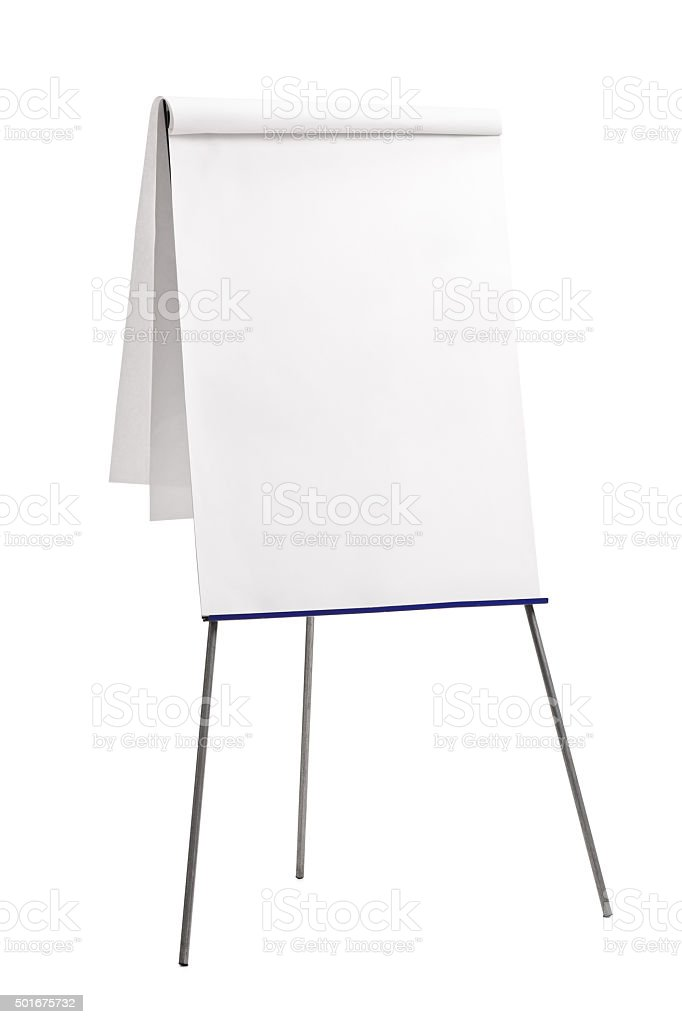 Presentation board with a blank paper stock photo
