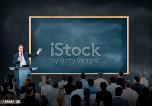 istock Presentation of a Speaker to Business People 488962105