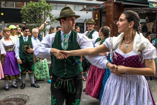 Presentation of German Folk Dances during a typical party in the streets of Brooklin neighborhood, south of Sao Paulo stock photo