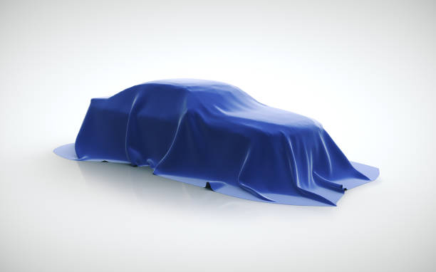 Presentation of the new sport car model stock photo