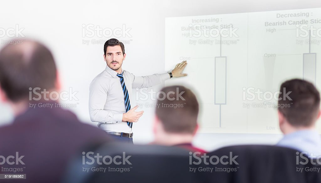 Presentation on investment event and workshop. stock photo