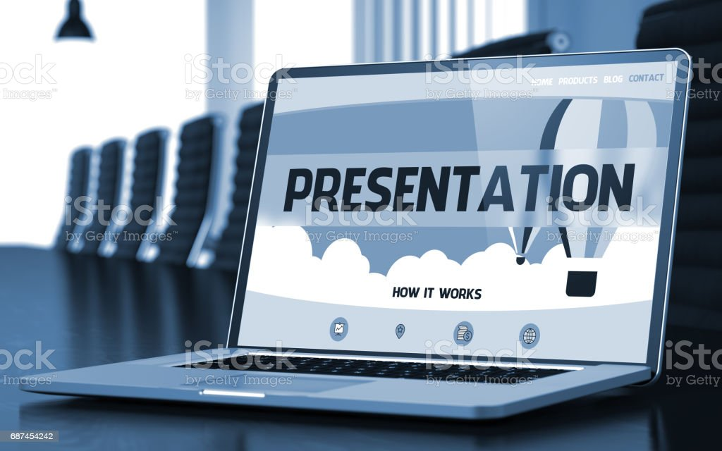 Presentation on Laptop in Conference Hall. 3D stock photo